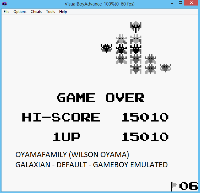 oyamafamily: Galaxian (Game Boy Emulated) 15,010 points on 2015-07-18 19:48:53