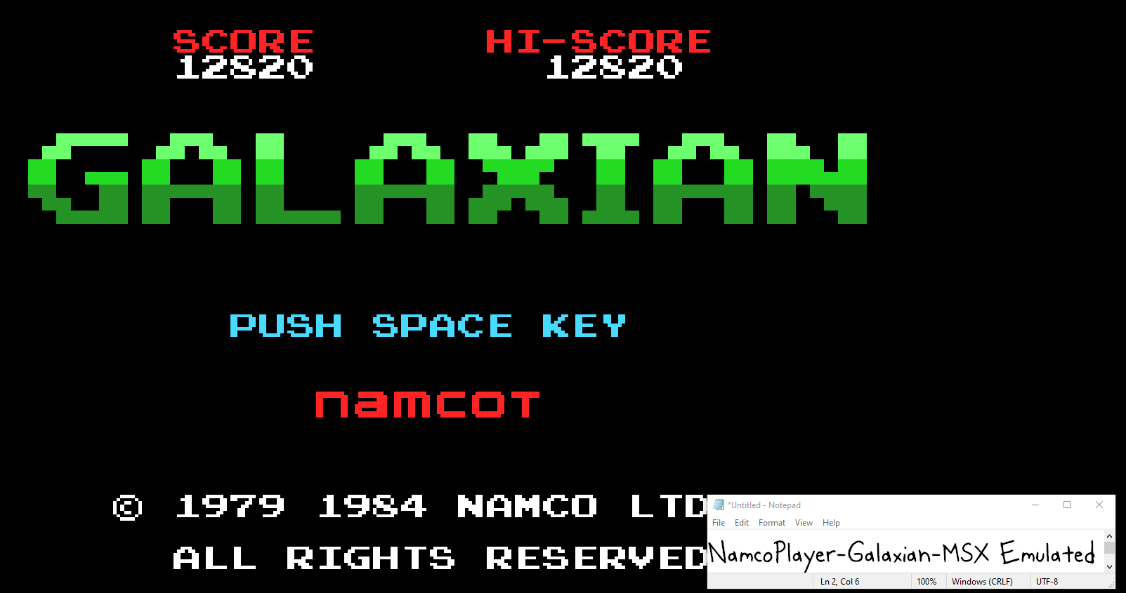 NamcoPlayer: Galaxian (MSX Emulated) 12,820 points on 2020-10-12 12:39:37