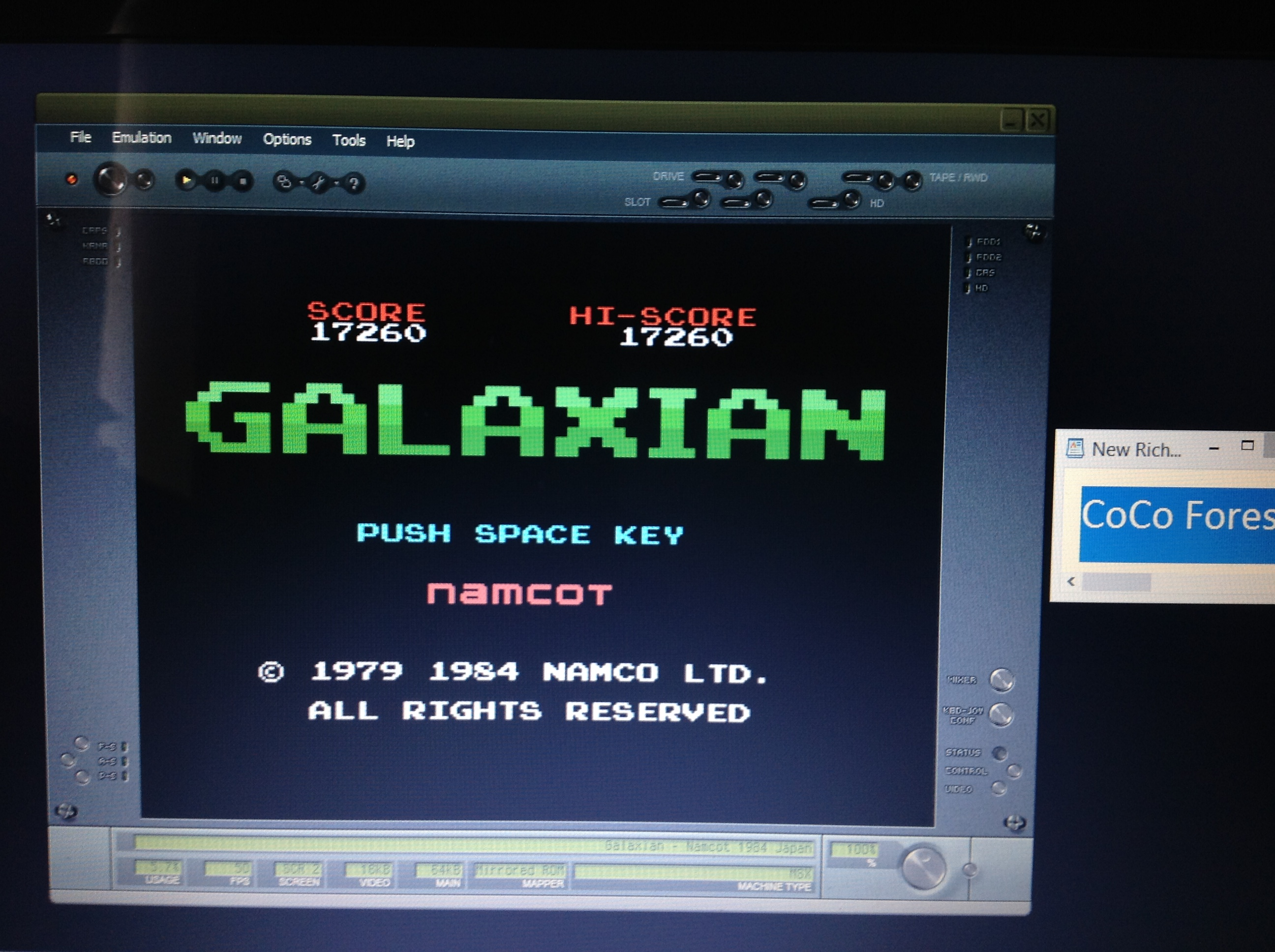 CoCoForest: Galaxian (MSX Emulated) 17,260 points on 2018-10-15 07:48:34