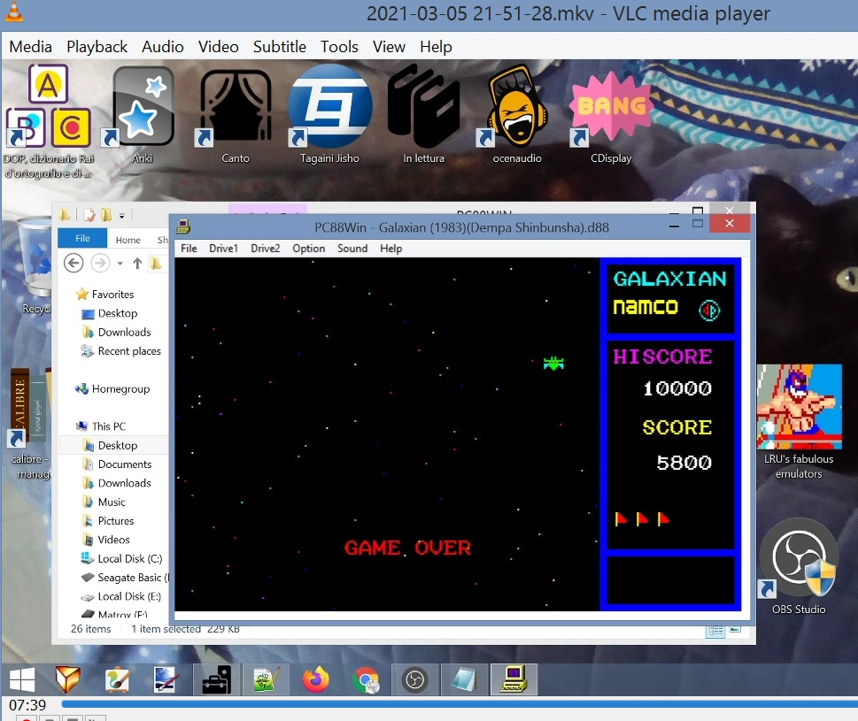 LuigiRuffolo: Galaxian (NEC PC-88 Emulated) 5,800 points on 2021-03-05 15:35:53
