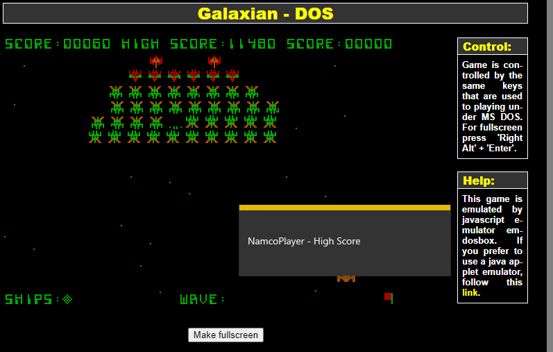 NamcoPlayer: Galaxian (PC Emulated / DOSBox) 11,480 points on 2020-10-27 13:41:11