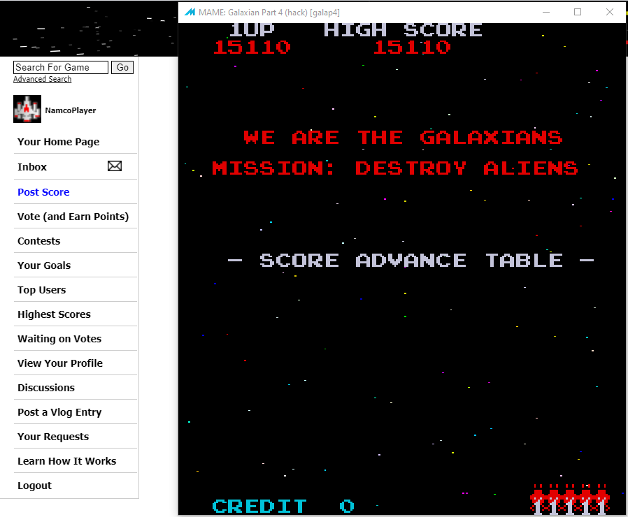 NamcoPlayer: Galaxian Part 4 [galap4] (Arcade Emulated / M.A.M.E.) 15,110 points on 2020-11-17 14:22:07