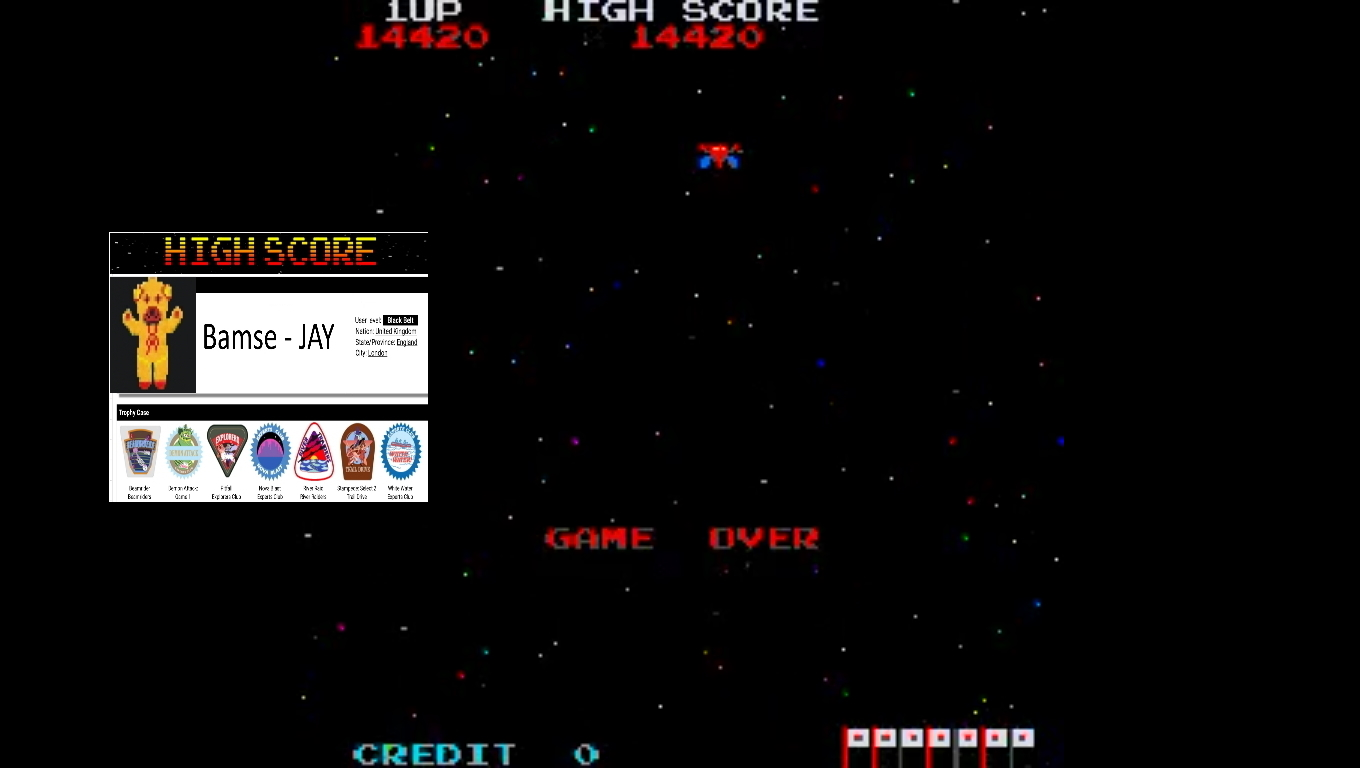 Bamse: Galaxian Part X [galapx] (Arcade Emulated / M.A.M.E.) 14,420 points on 2019-11-11 16:28:33
