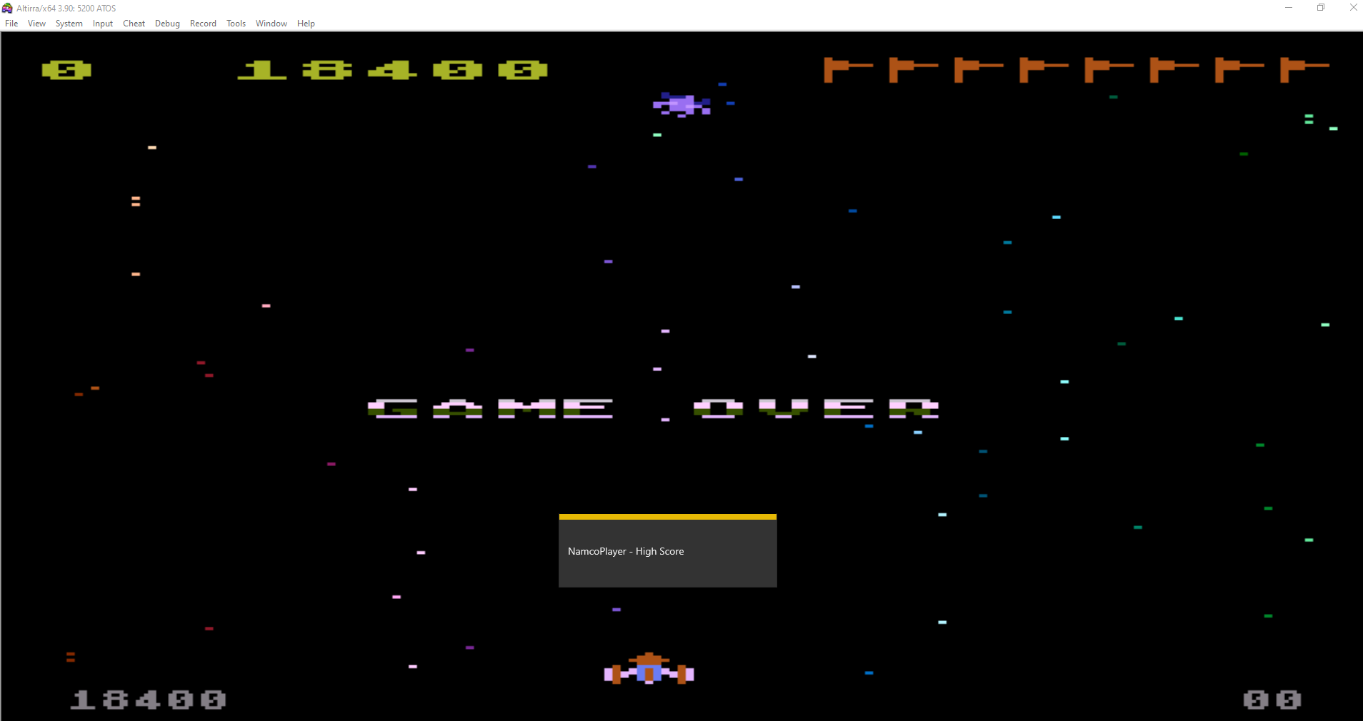 NamcoPlayer: Galaxian: Skill Level 1 (Atari 5200 Emulated) 18,400 points on 2020-10-30 16:30:53