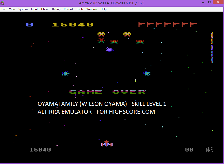 Galaxian: Skill Level 1 15,040 points