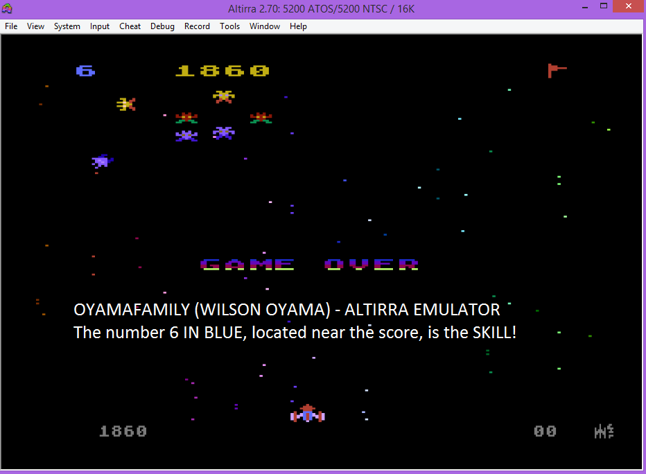 oyamafamily: Galaxian: Skill Level 6 (Atari 5200 Emulated) 1,860 points on 2016-03-10 19:16:02