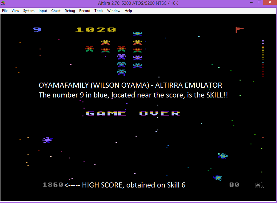 oyamafamily: Galaxian: Skill Level 9 (Atari 5200 Emulated) 1,020 points on 2016-03-10 19:16:18
