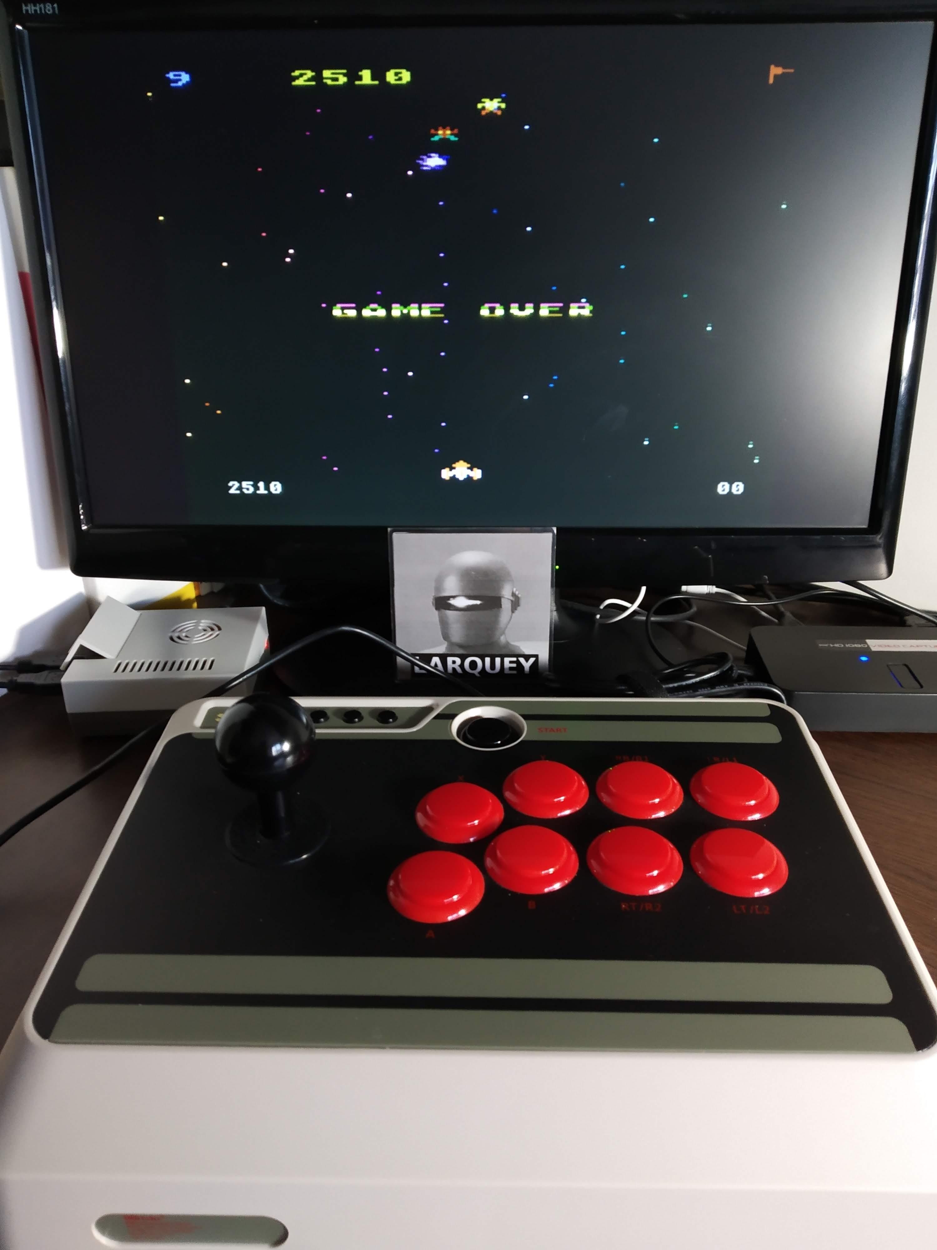 Larquey: Galaxian: Skill Level 9 (Atari 5200 Emulated) 2,510 points on 2019-11-16 07:16:35