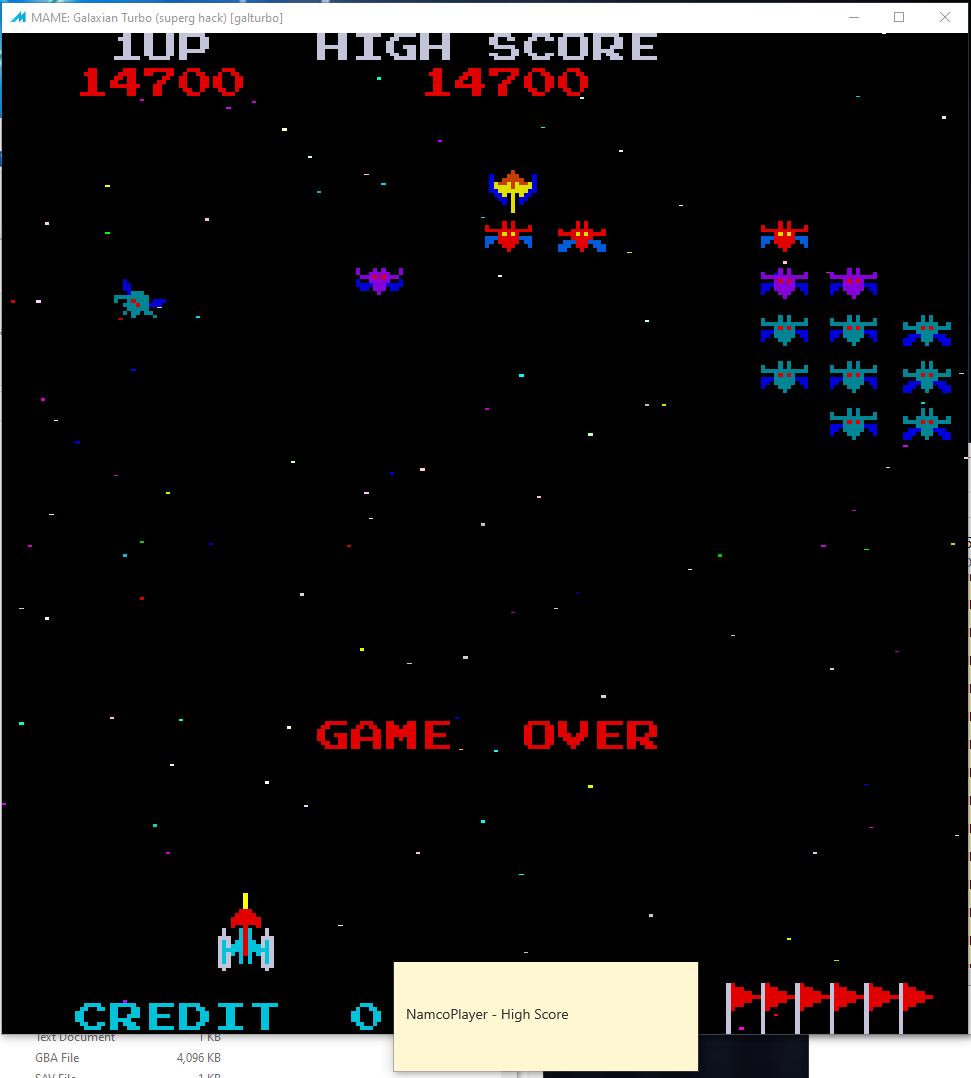 NamcoPlayer: Galaxian Turbo [galturbo] (Arcade Emulated / M.A.M.E.) 14,700 points on 2020-11-03 16:17:43