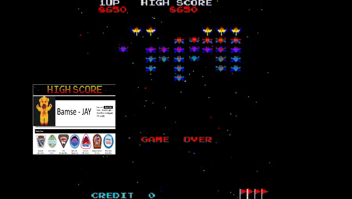 Bamse: Galaxian Turbo [galturbo] (Arcade Emulated / M.A.M.E.) 8,650 points on 2019-11-11 16:30:22