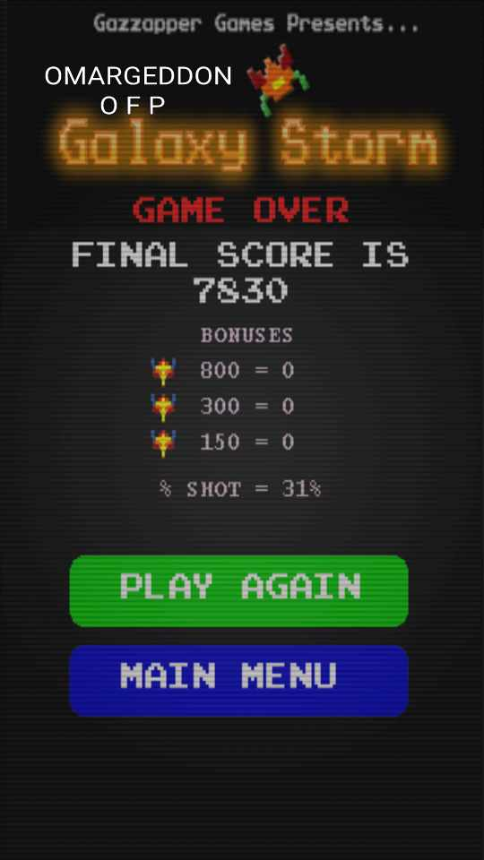 omargeddon: Galaxy Storm (Android) 7,830 points on 2016-09-30 19:20:03