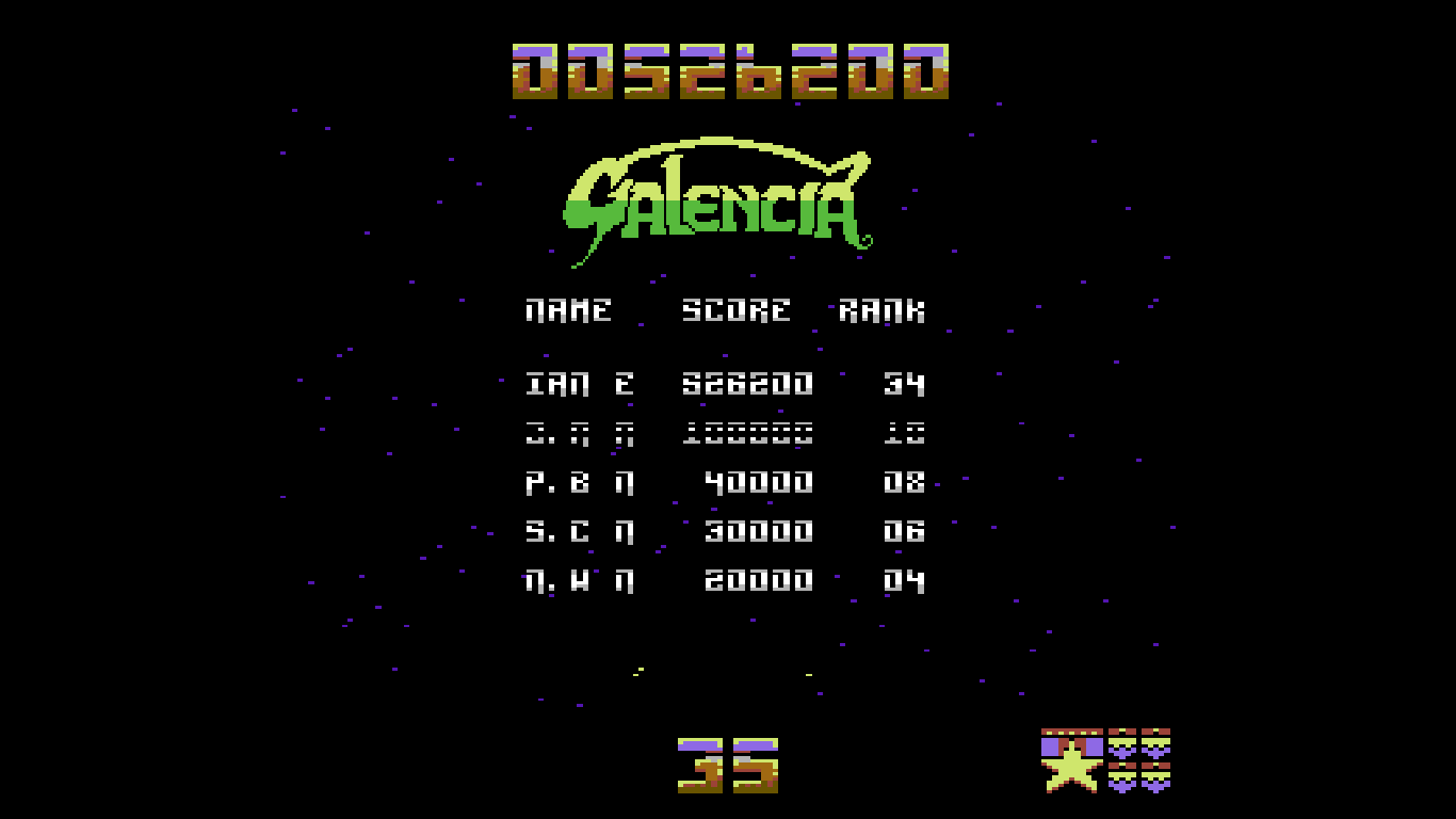 iannorris: Galencia [Easy] (Commodore 64 Emulated) 526,200 points on 2018-07-23 21:08:48