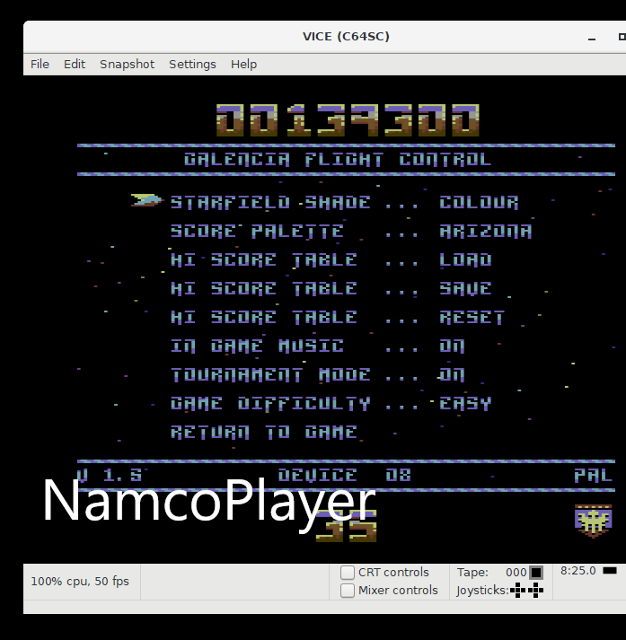 NamcoPlayer: Galencia [Tournament Mode: Easy] (Commodore 64 Emulated) 139,300 points on 2020-12-04 12:55:47