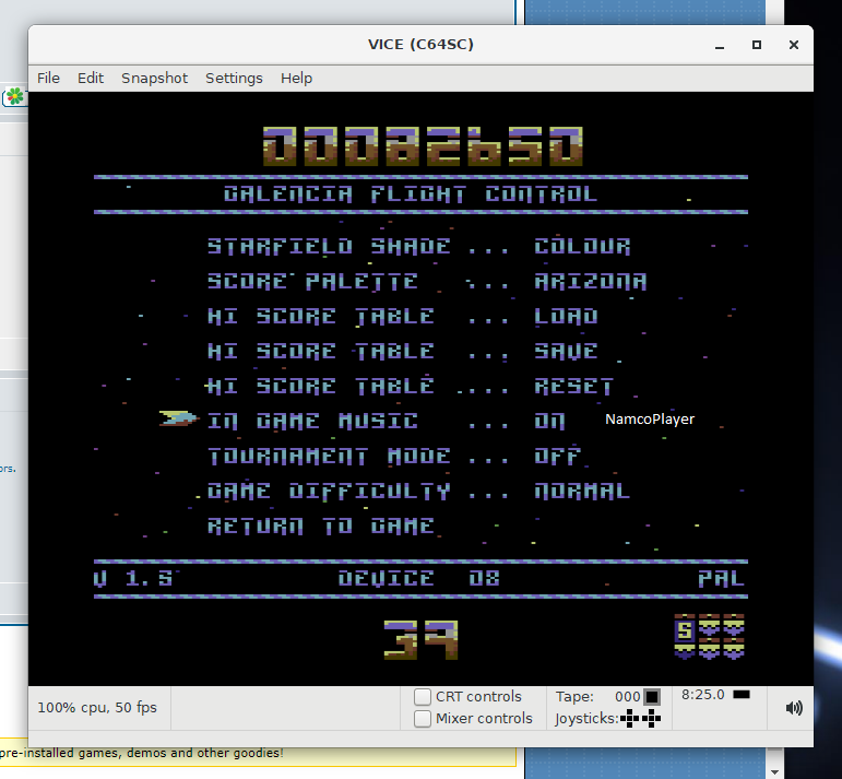 NamcoPlayer: Galencia V1.5 [Normal] (Commodore 64 Emulated) 82,650 points on 2020-12-04 12:44:00