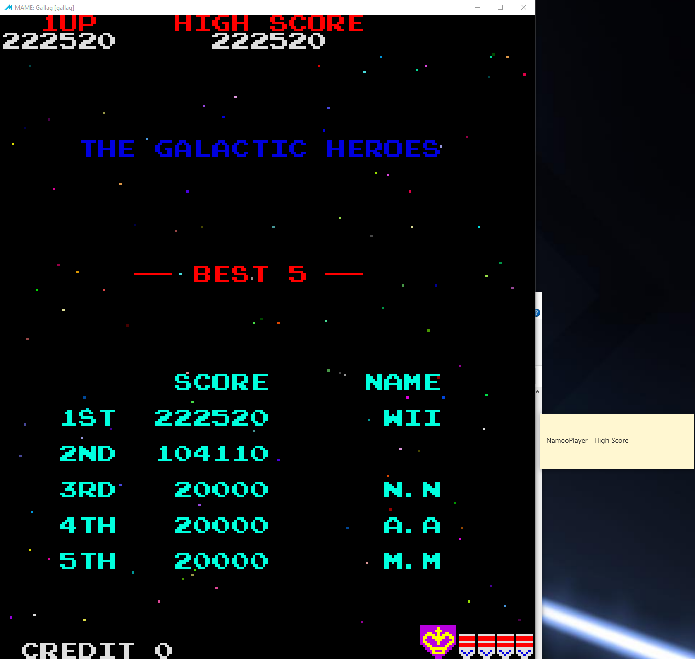 NamcoPlayer: Gallag (Arcade Emulated / M.A.M.E.) 222,520 points on 2020-11-03 12:42:09
