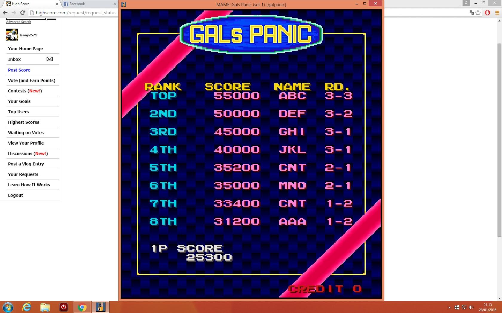 lenny2571: Gals Panic [galpanic] (Arcade Emulated / M.A.M.E.) 25,300 points on 2016-01-28 14:15:04