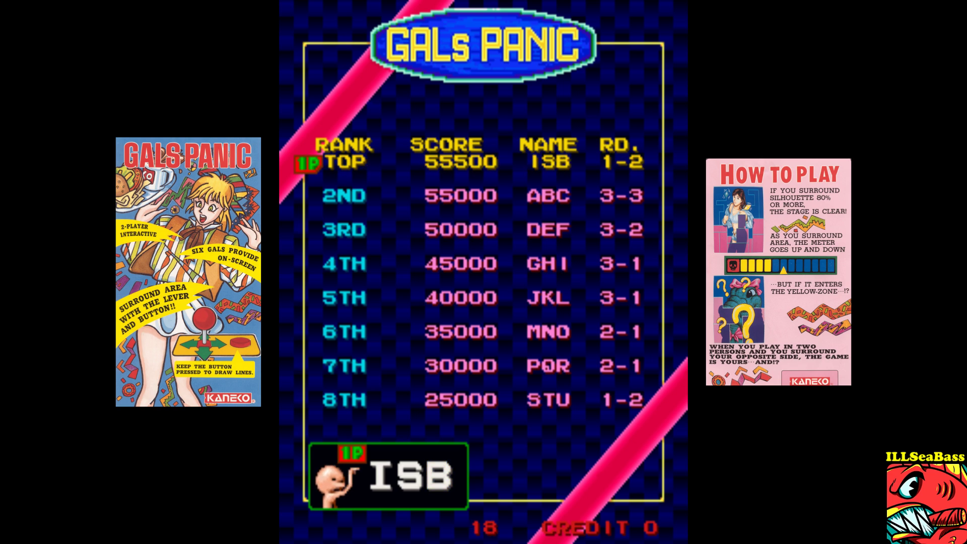ILLSeaBass: Gals Panic [galpanic] (Arcade Emulated / M.A.M.E.) 55,500 points on 2017-09-16 22:27:28