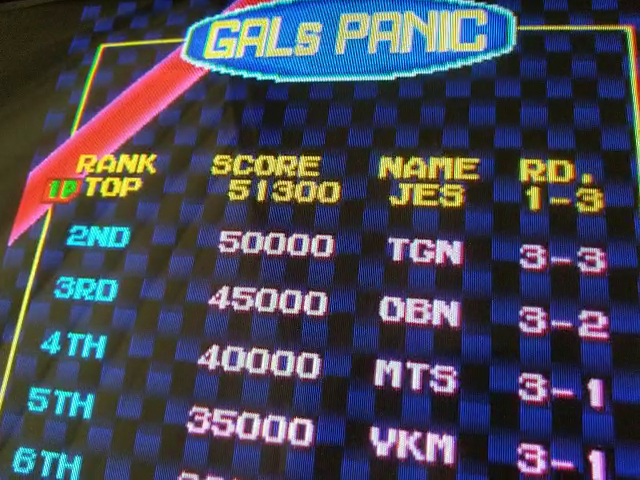 JES: Gals Panic [galpanica] (Arcade Emulated / M.A.M.E.) 51,300 points on 2018-05-17 18:19:28