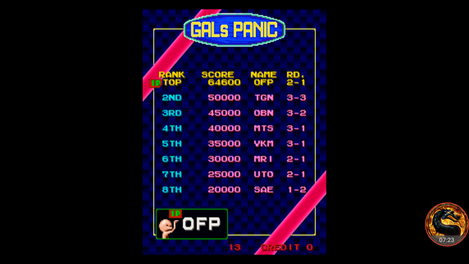omargeddon: Gals Panic [galpanica] (Arcade Emulated / M.A.M.E.) 64,600 points on 2018-08-17 00:18:12