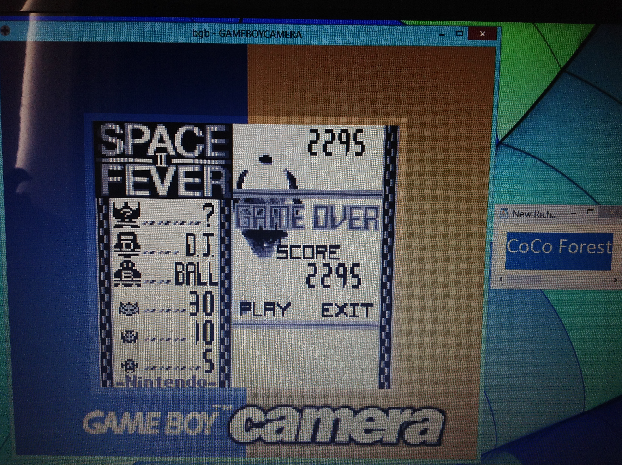 CoCoForest: Game Boy Camera: Space Fever 2 (Game Boy Emulated) 2,295 points on 2018-10-21 06:21:34