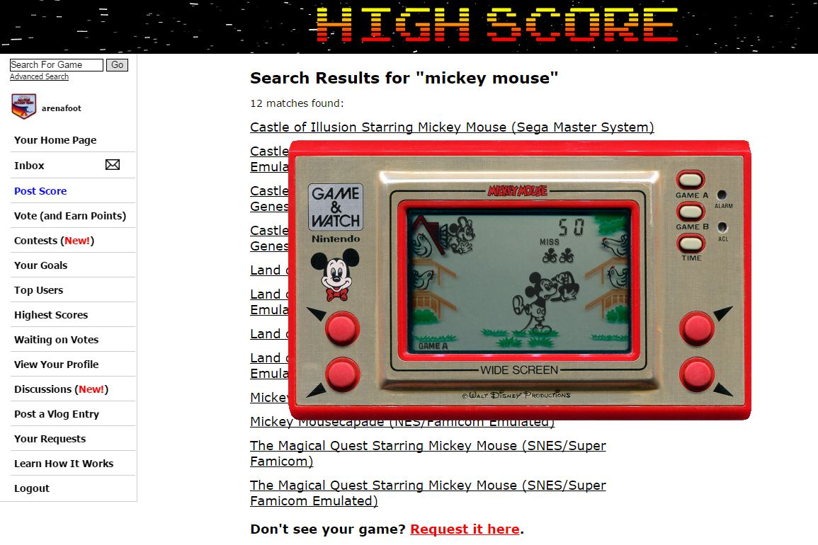 arenafoot: Game & Watch: Mickey Mouse [Game A] (Dedicated Handheld Emulated) 50 points on 2016-04-06 05:34:01