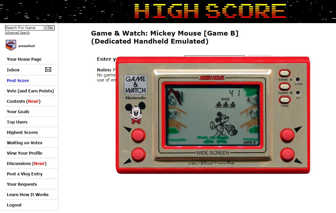 arenafoot: Game & Watch: Mickey Mouse [Game B] (Dedicated Handheld Emulated) 41 points on 2016-04-12 22:23:14