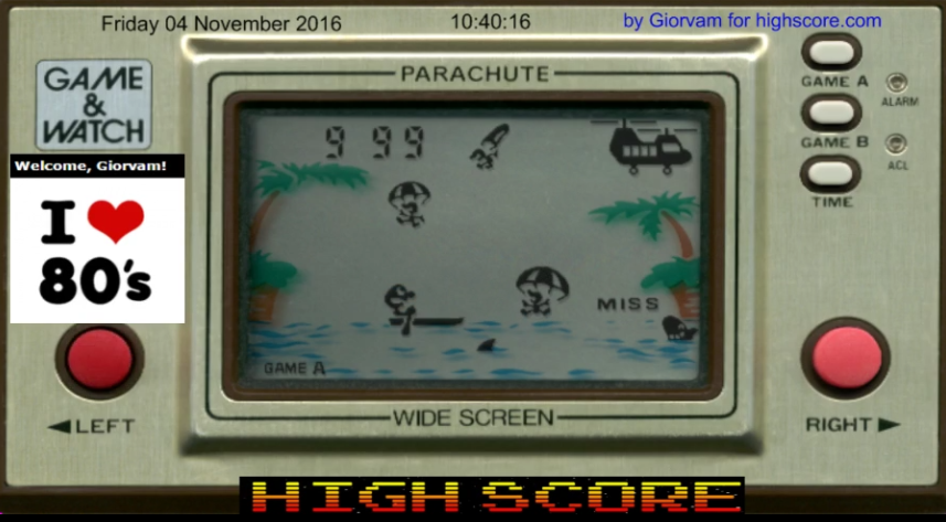 Giorvam: Game & Watch: Parachute [Game A] (Dedicated Handheld Emulated) 1,240 points on 2016-11-04 04:28:36