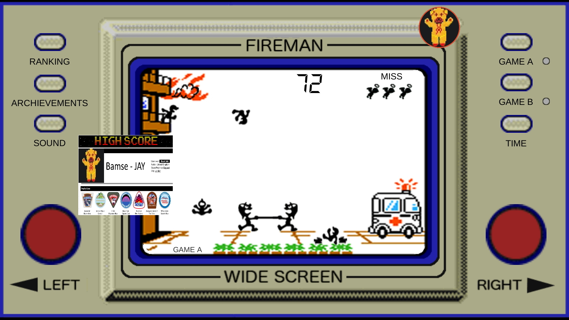 Bamse: Game & Watch: Fire [aka Fireman Fireman] [Game A] (Dedicated Handheld Emulated) 72 points on 2019-11-17 18:45:09
