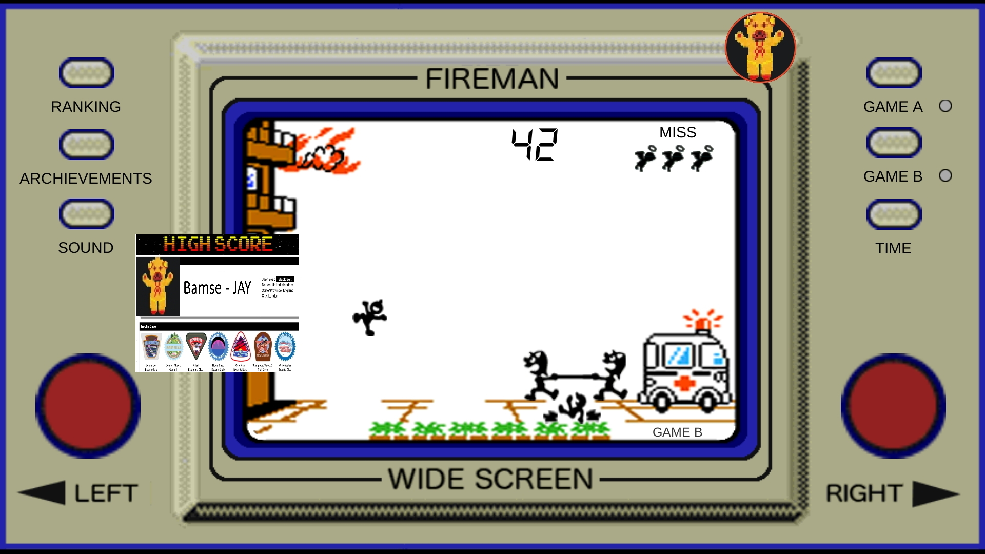 Bamse: Game & Watch: Fire [aka Fireman Fireman] [Game B] (Dedicated Handheld Emulated) 42 points on 2019-11-17 18:46:52