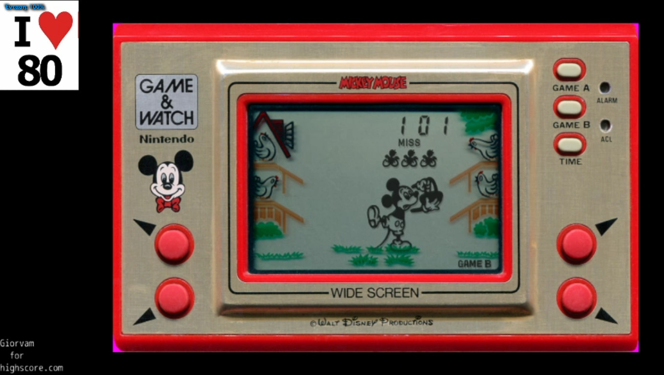 Giorvam: Game & Watch: Mickey Mouse [Game B] (Dedicated Handheld Emulated) 101 points on 2019-12-27 04:53:06