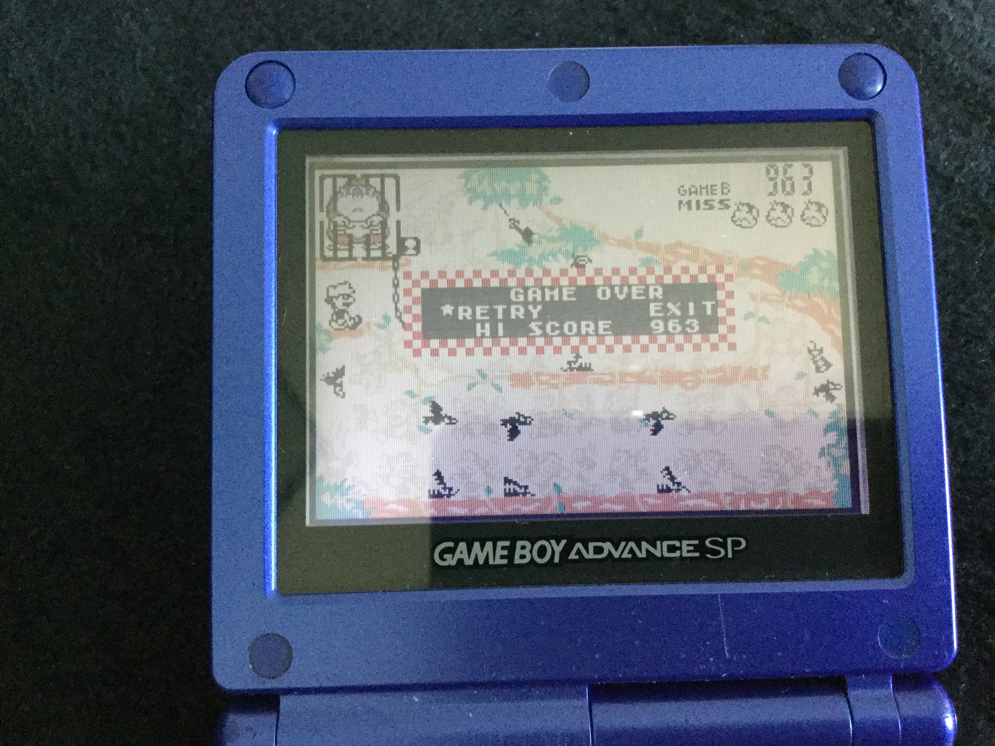 Frankie: Game & Watch Gallery 4: Donkey Kong Jr. [Classic: Hard] (GBA) 963 points on 2018-05-06 14:52:37