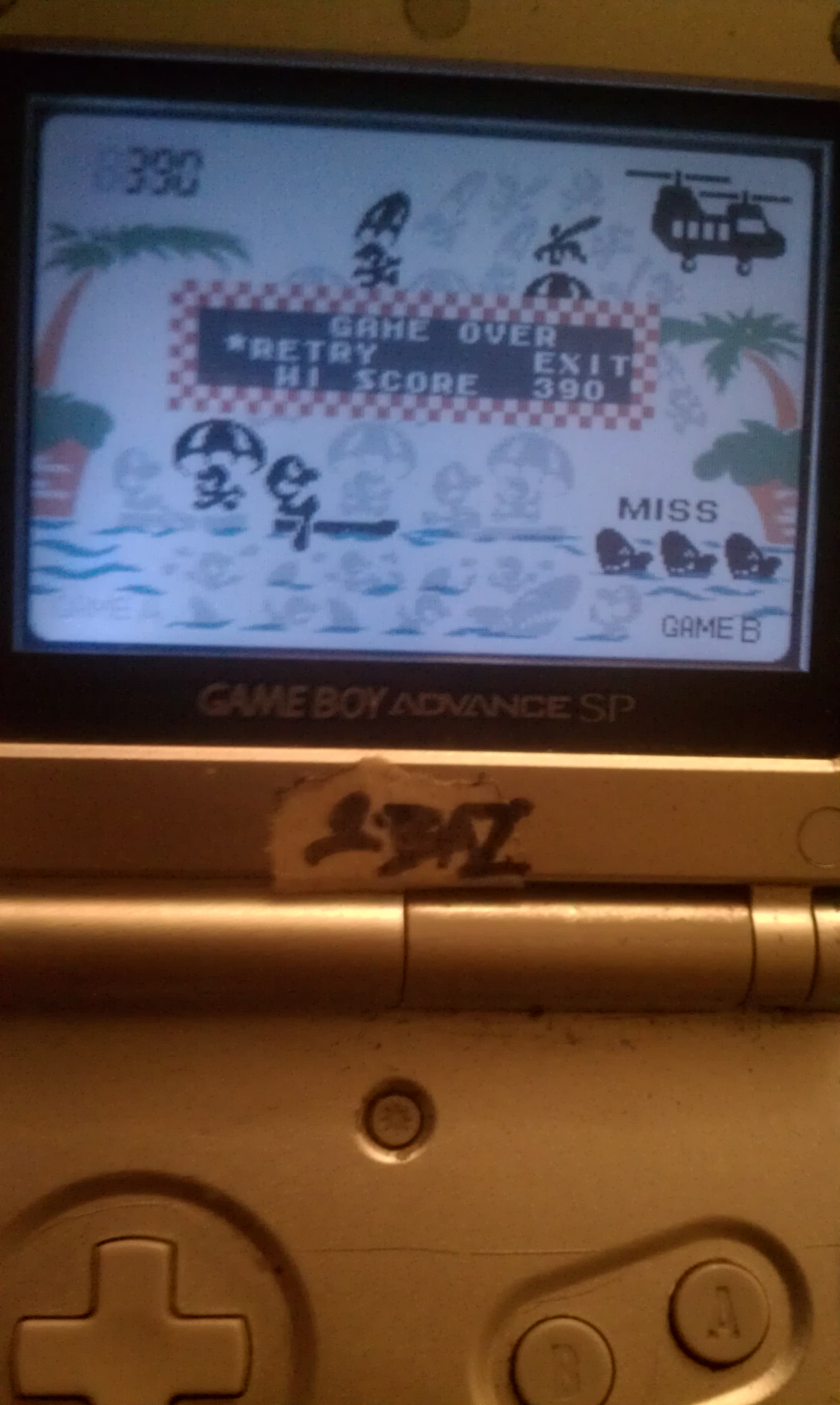 S.BAZ: Game & Watch Gallery 4: Parachute [Classic: Hard] (GBA) 390 points on 2019-11-20 05:09:42