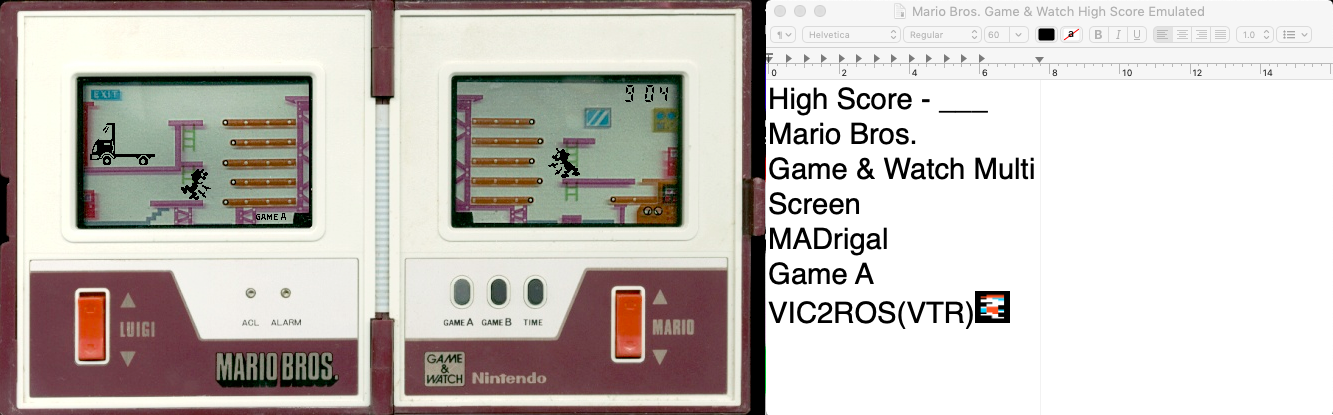 vic2ros: Game & Watch: Mario Bros [Game A] (Dedicated Handheld Emulated) 904 points on 2019-10-03 00:57:23