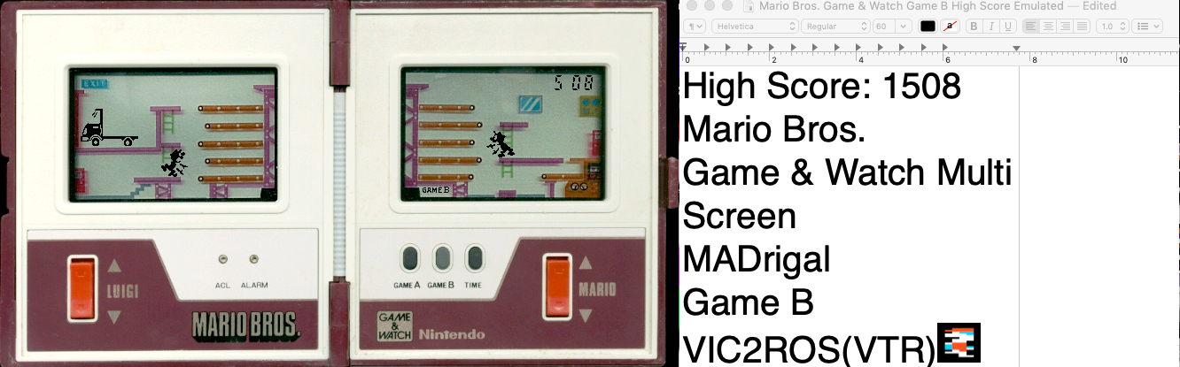 vic2ros: Game & Watch: Mario Bros [Game B] (Dedicated Handheld Emulated) 1,508 points on 2019-10-04 00:34:08