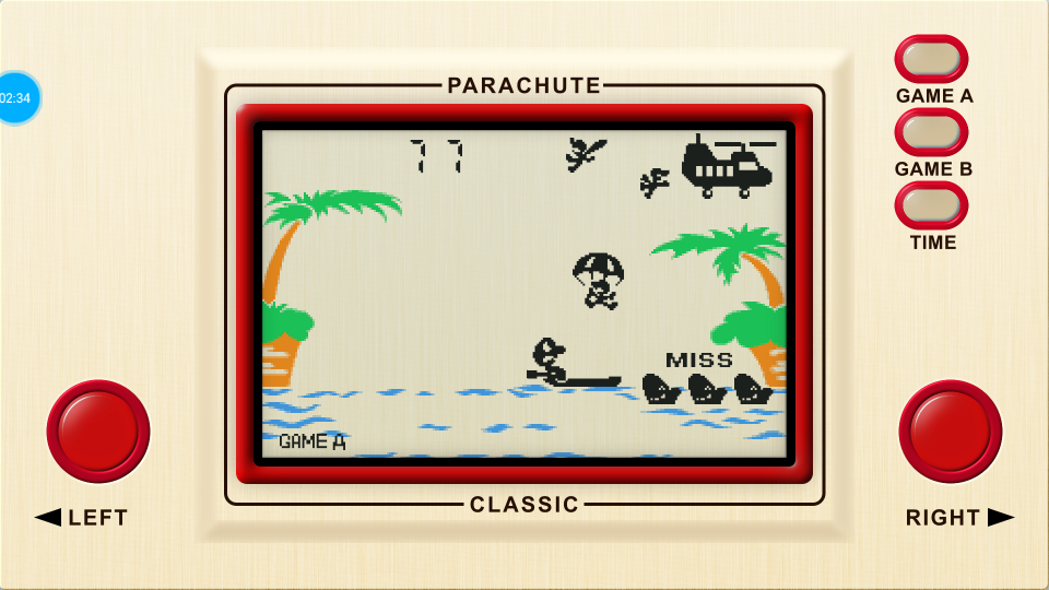 omargeddon: Game & Watch: Parachute [Game A] (Dedicated Handheld Emulated) 77 points on 2018-07-16 16:04:46