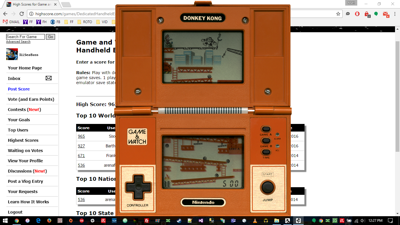 ILLSeaBass: Game and Watch: Donkey Kong (Dedicated Handheld Emulated) 500 points on 2016-11-25 11:44:39