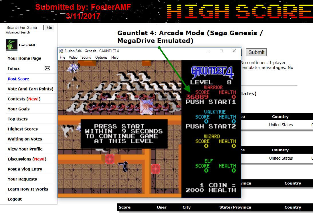 FosterAMF: Gauntlet 4: Arcade Mode (Sega Genesis / MegaDrive Emulated) 36,889 points on 2017-03-11 17:28:51
