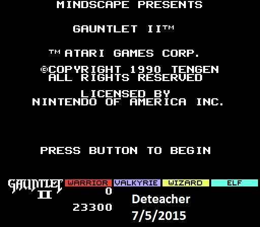 Deteacher: Gauntlet II (NES/Famicom Emulated) 23,300 points on 2015-07-05 19:13:27