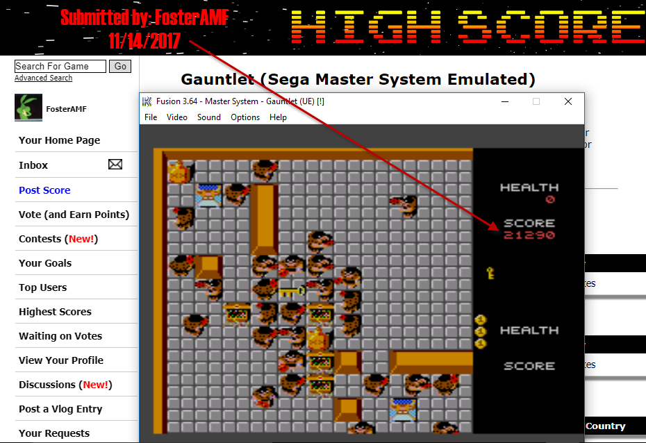 FosterAMF: Gauntlet (Sega Master System Emulated) 21,290 points on 2017-11-14 23:26:31