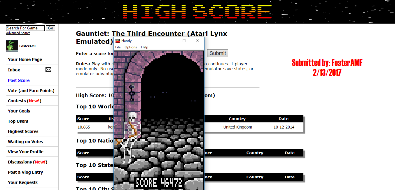 FosterAMF: Gauntlet: The Third Encounter (Atari Lynx Emulated) 46,472 points on 2017-02-13 18:59:45