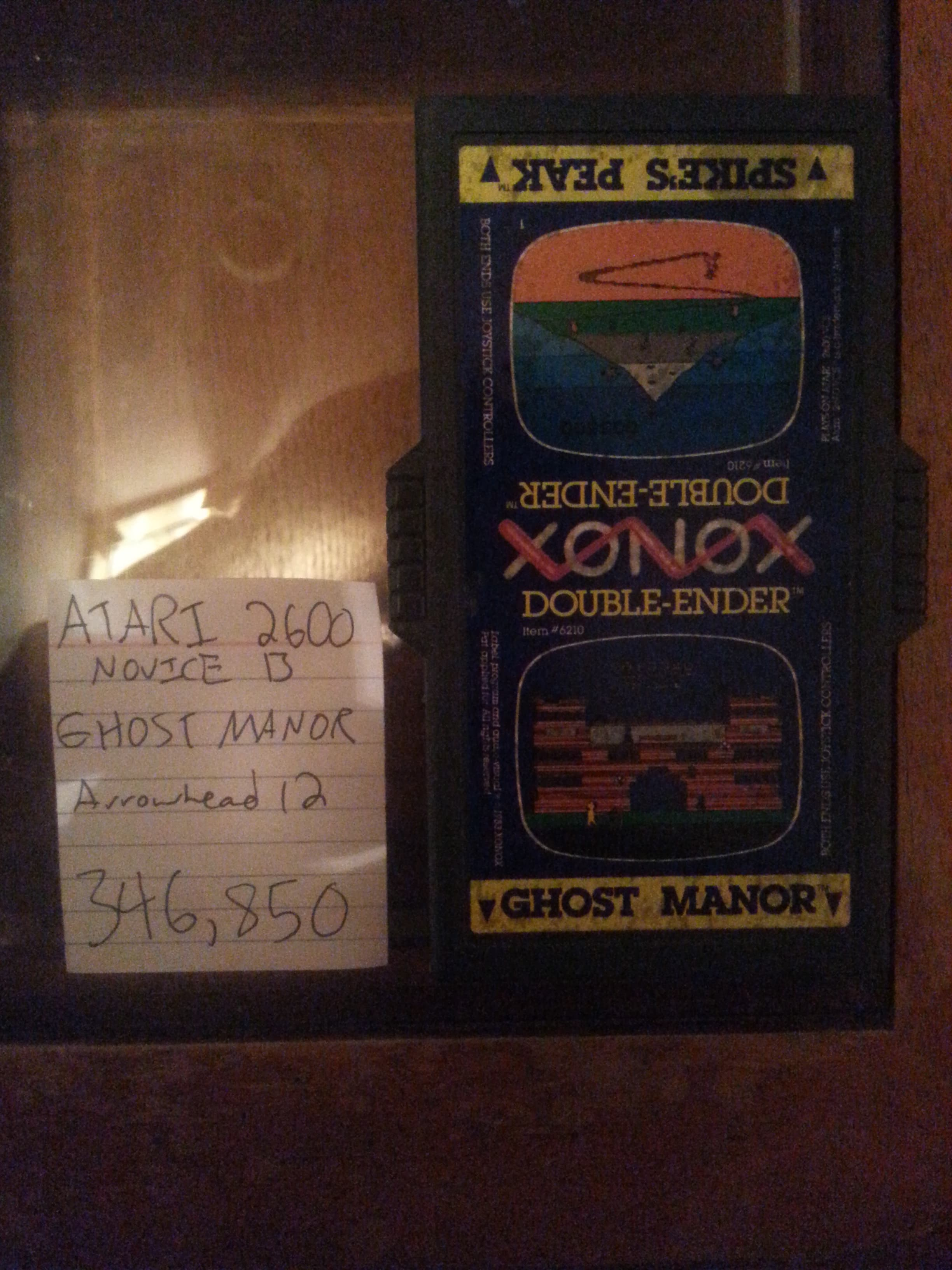 Arrowhead12: Ghost Manor (Atari 2600 Novice/B) 346,850 points on 2018-10-06 02:29:18