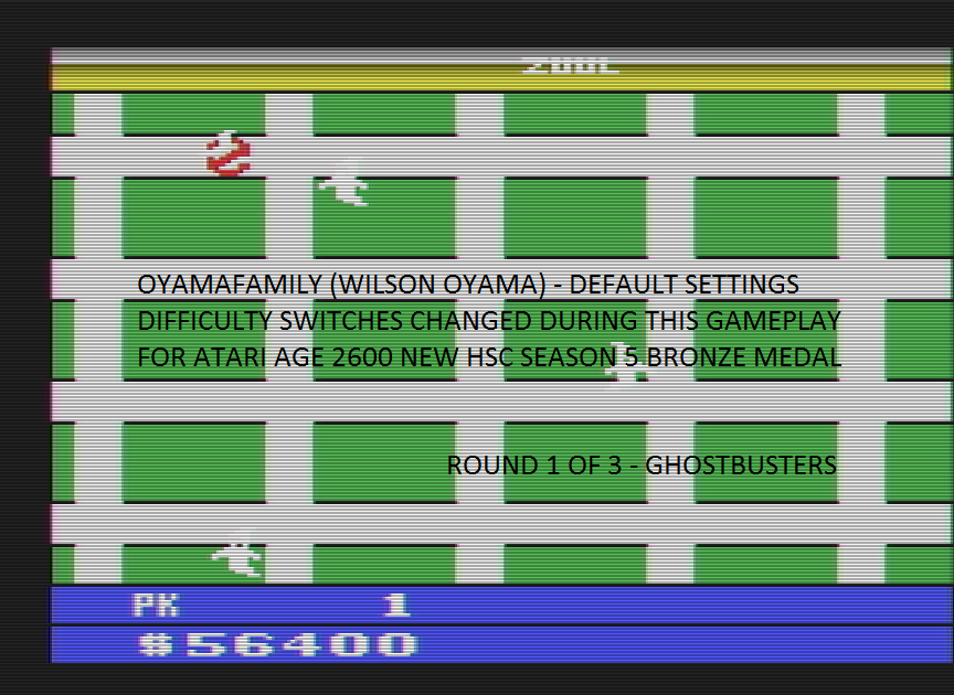 oyamafamily: Ghostbusters (Atari 2600 Emulated Novice/B Mode) 56,400 points on 2016-11-14 08:29:49