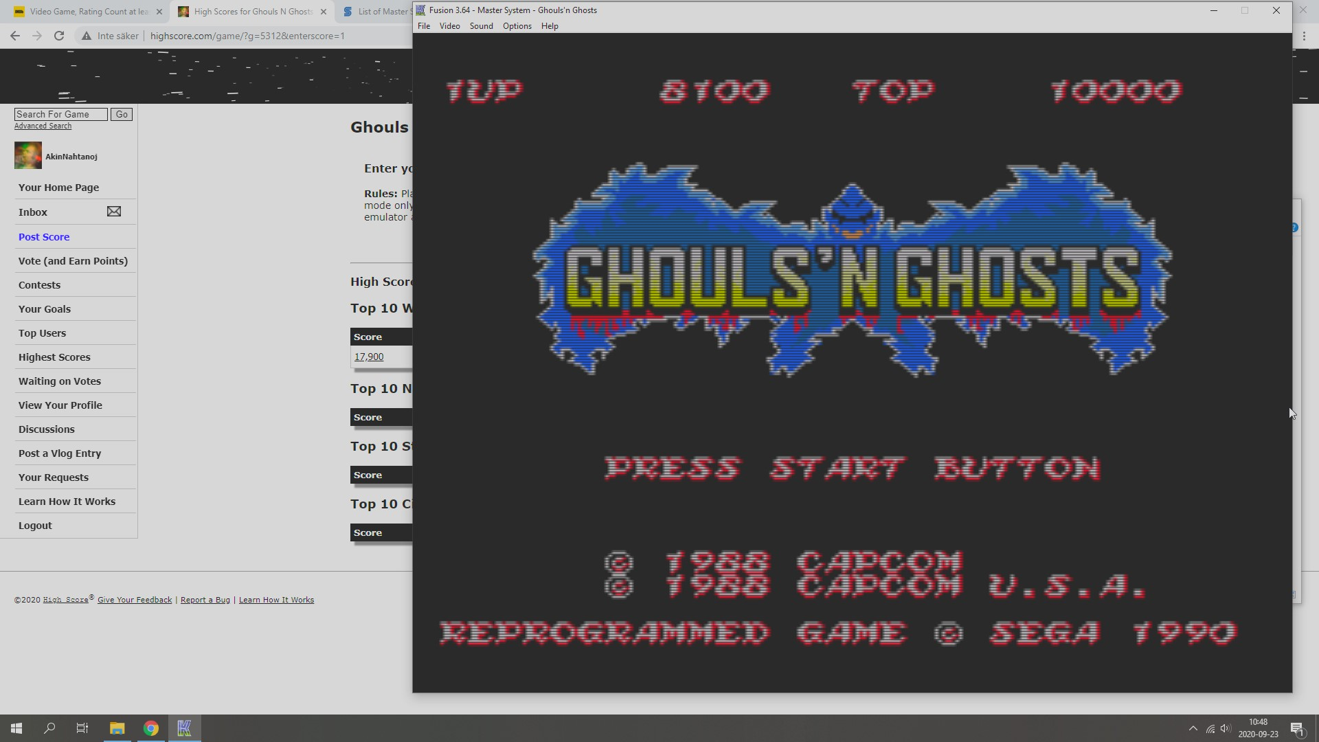 Ghouls N Ghosts 8,100 points