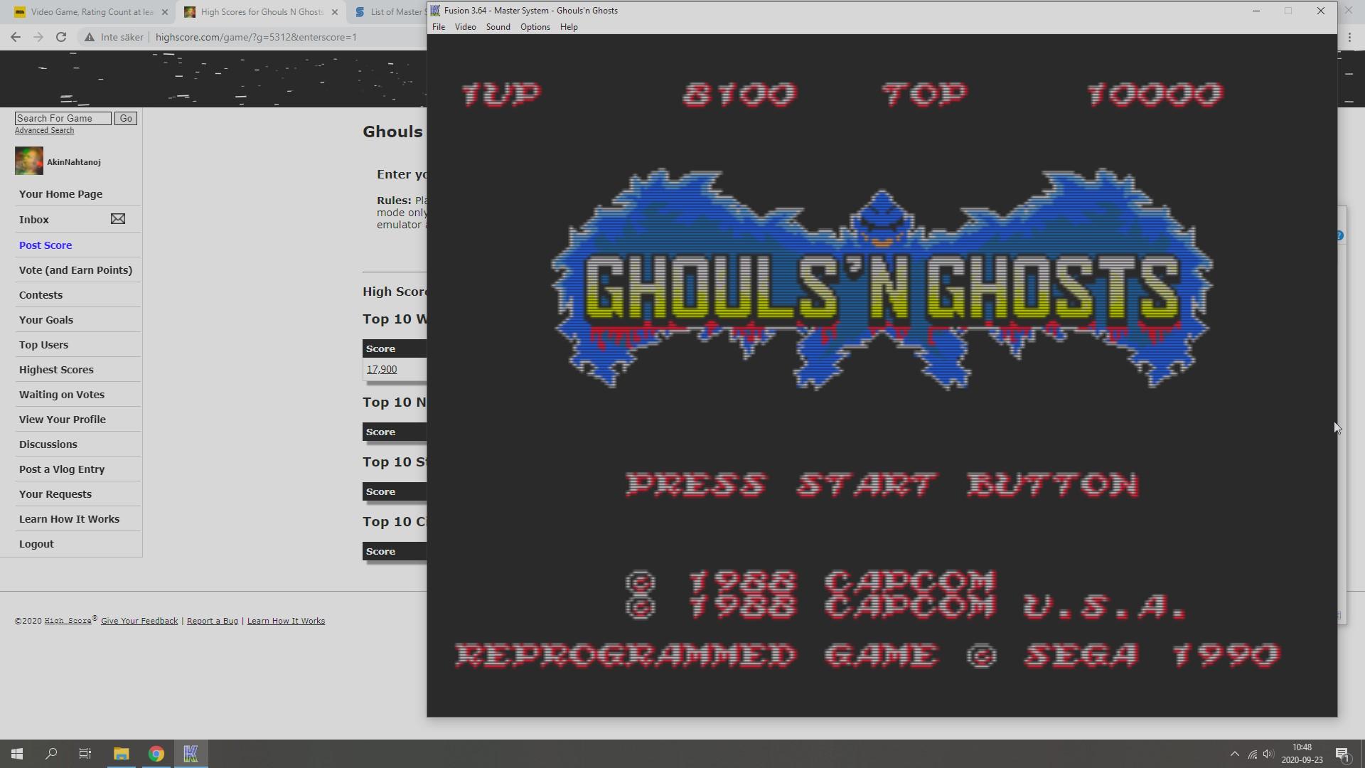 AkinNahtanoj: Ghouls N Ghosts (Sega Master System Emulated) 8,100 points on 2020-09-23 03:57:14