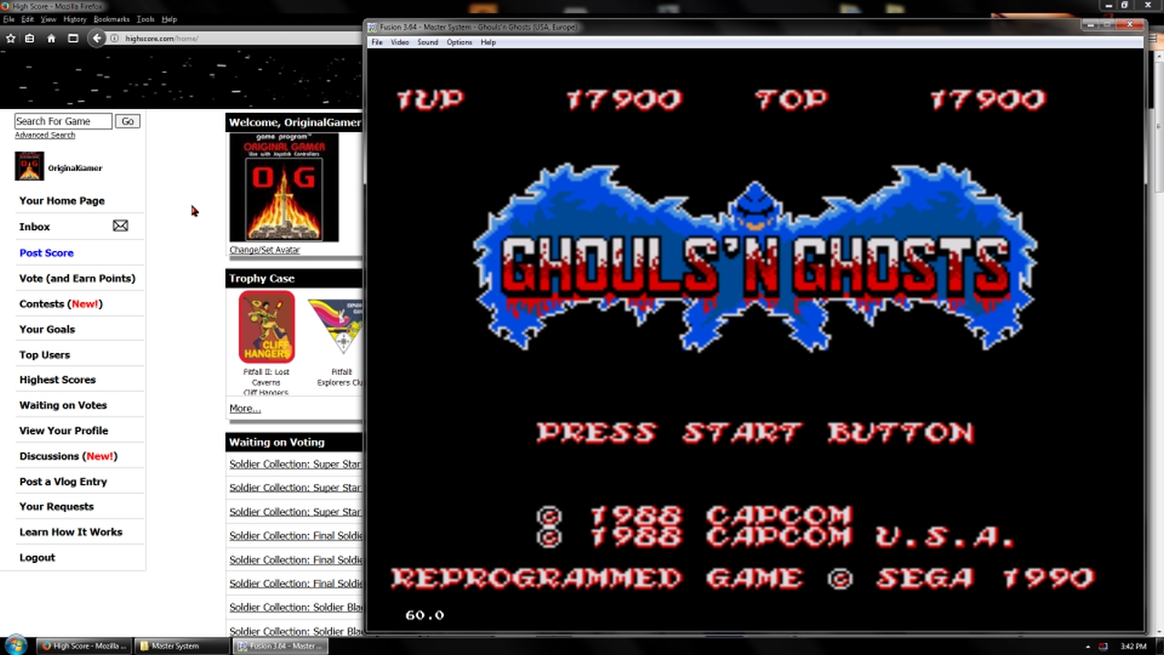 OriginalGamer: Ghouls N Ghosts (Sega Master System Emulated) 17,900 points on 2018-02-19 18:15:12