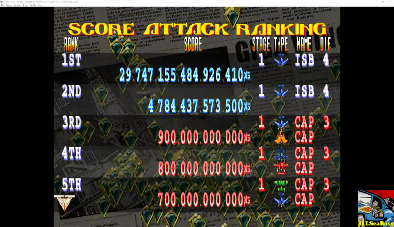 Giga Wing 2: Score Attack: Stage 1 29,747,155,484,926,408 points