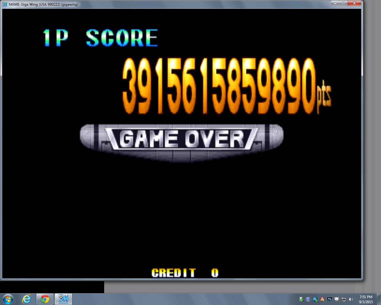 bubufubu: Giga Wing [gigawing] (Arcade Emulated / M.A.M.E.) 3,915,615,859,890 points on 2015-11-06 19:32:02