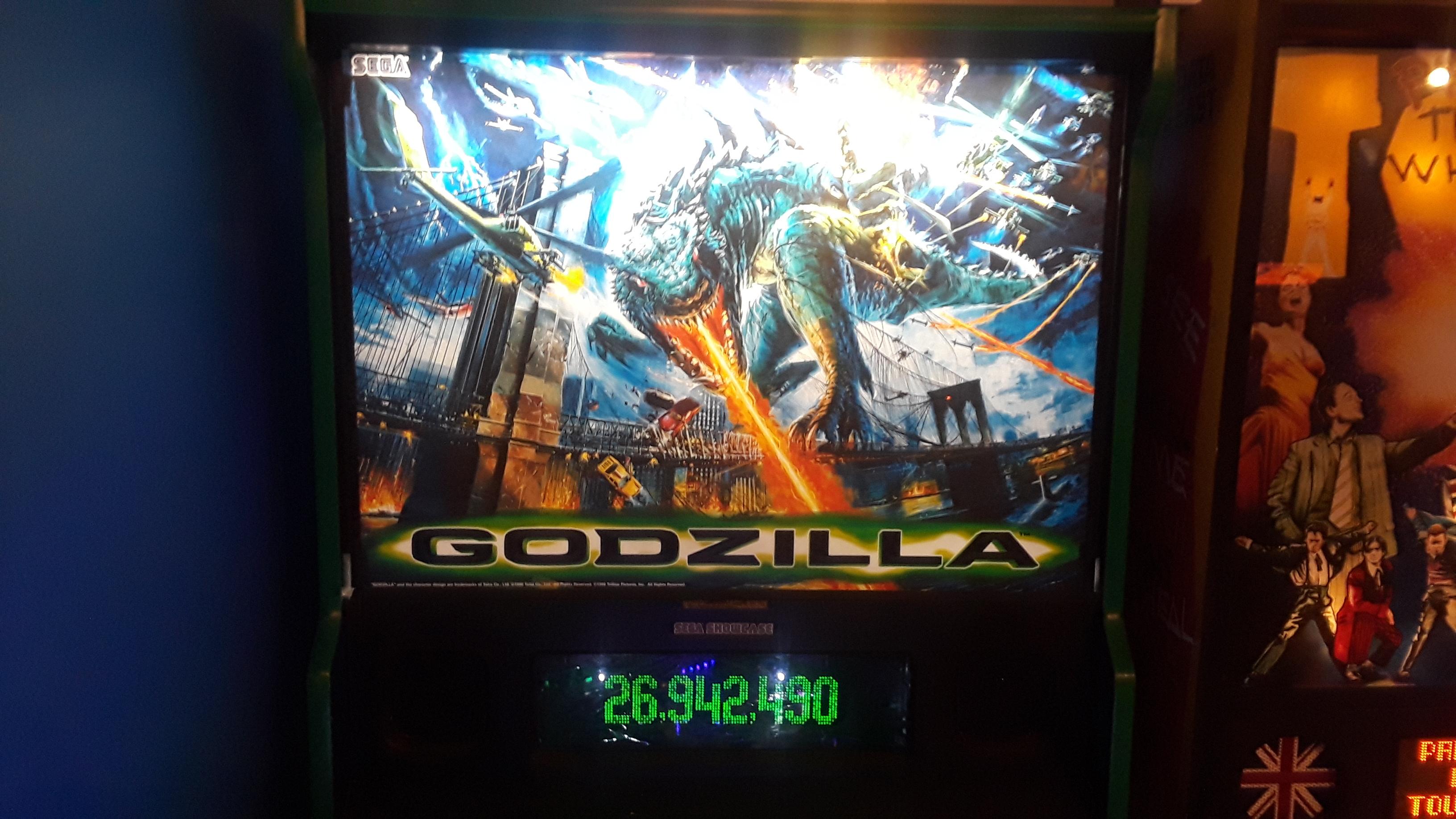 JML101582: Godzilla (Pinball: 3 Balls) 26,942,490 points on 2019-11-23 19:44:48