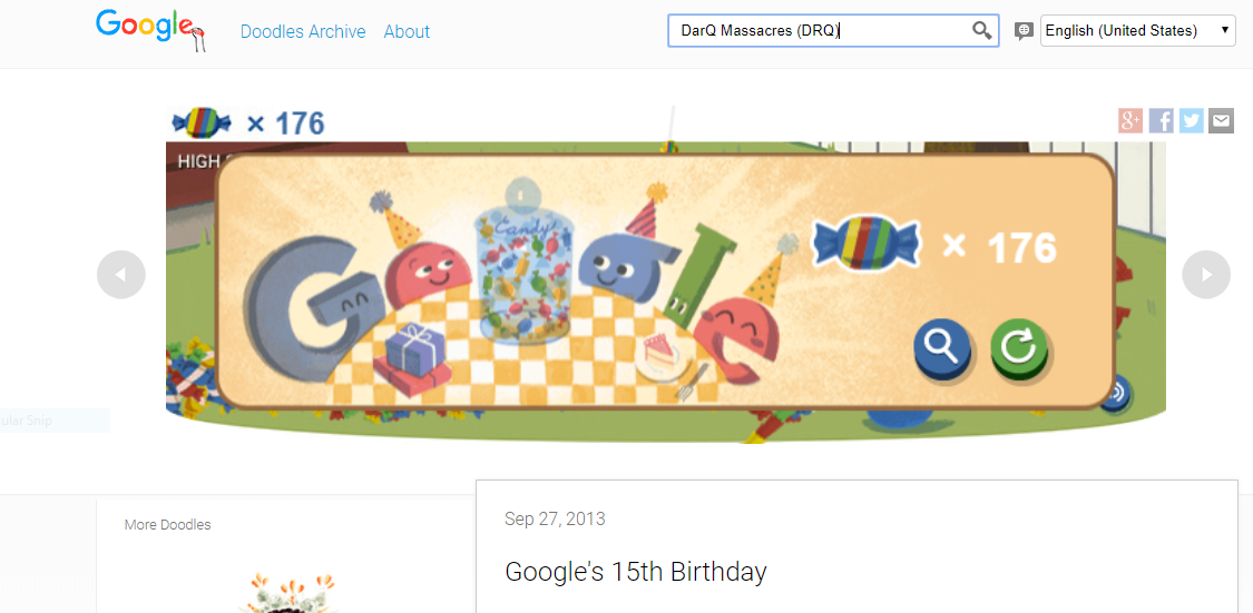 DarQMassacres: Google 15th Birthday Doodle (Web) 176 points on 2017-12-04 12:11:58