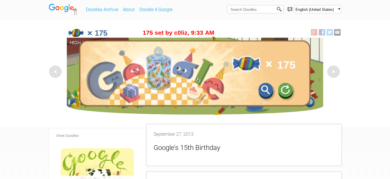 c0liz: Google 15th Birthday Doodle (Web) 175 points on 2018-05-16 09:34:25
